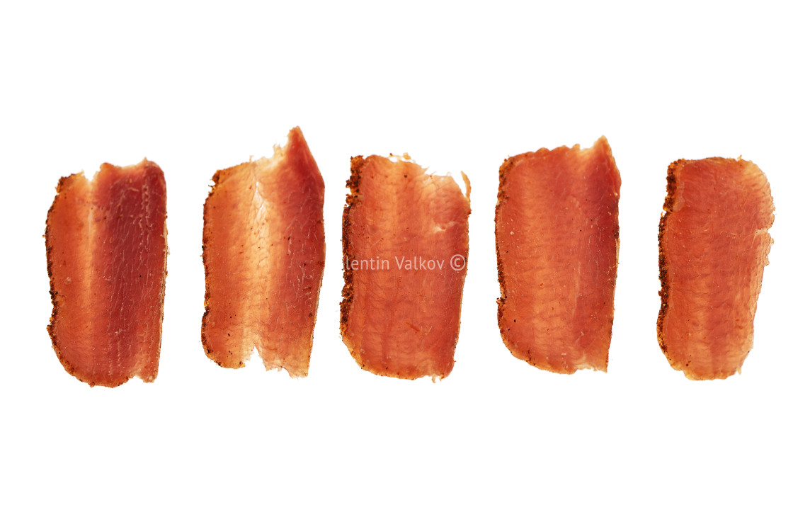 """""""Basturma, dried tenderloin of beef meat, thinly sliced, on a whi"""" stock image"""