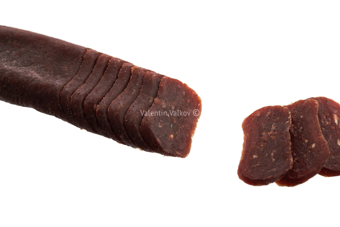 """Flat sausage isolated on white background"" stock image"