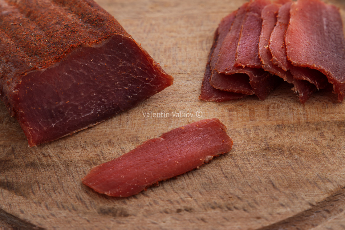 """""""Basturma, dried tenderloin of beef meat, thinly sliced, on a fla"""" stock image"""