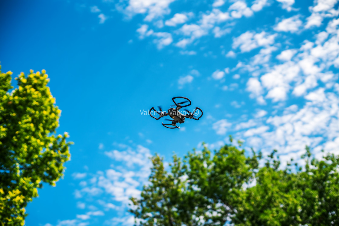 """Flying drone over the tree"" stock image"