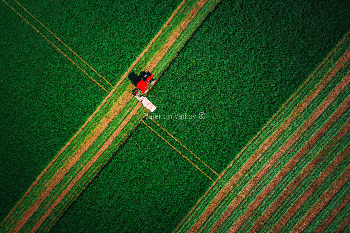 """""""Tractor mowing green field"""" stock image"""