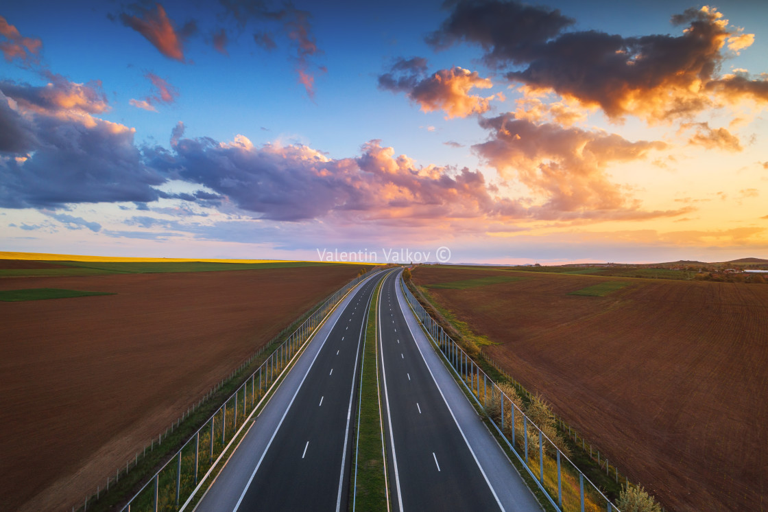 """""""Aerial view of highway on sunset. Transportation background. Lan"""" stock image"""
