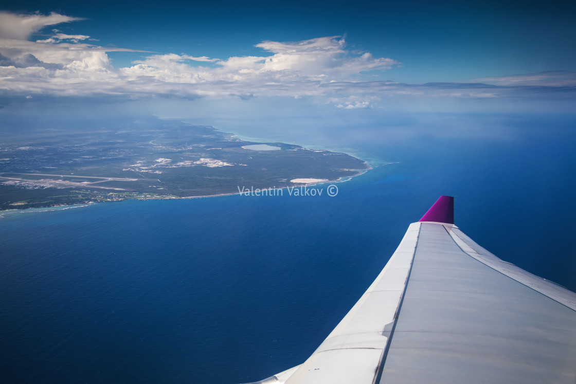 """""""Aerial view from the plane over Punta Cana, Dominican Republic"""" stock image"""