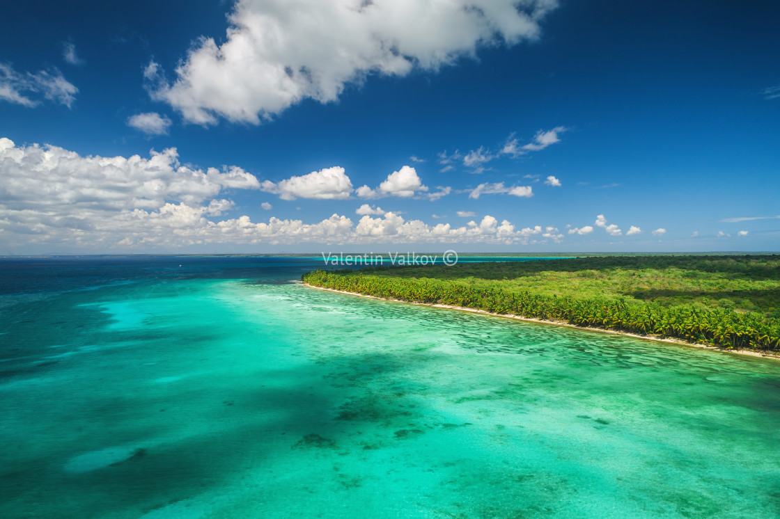 """Aerial view of tropical beach"" stock image"