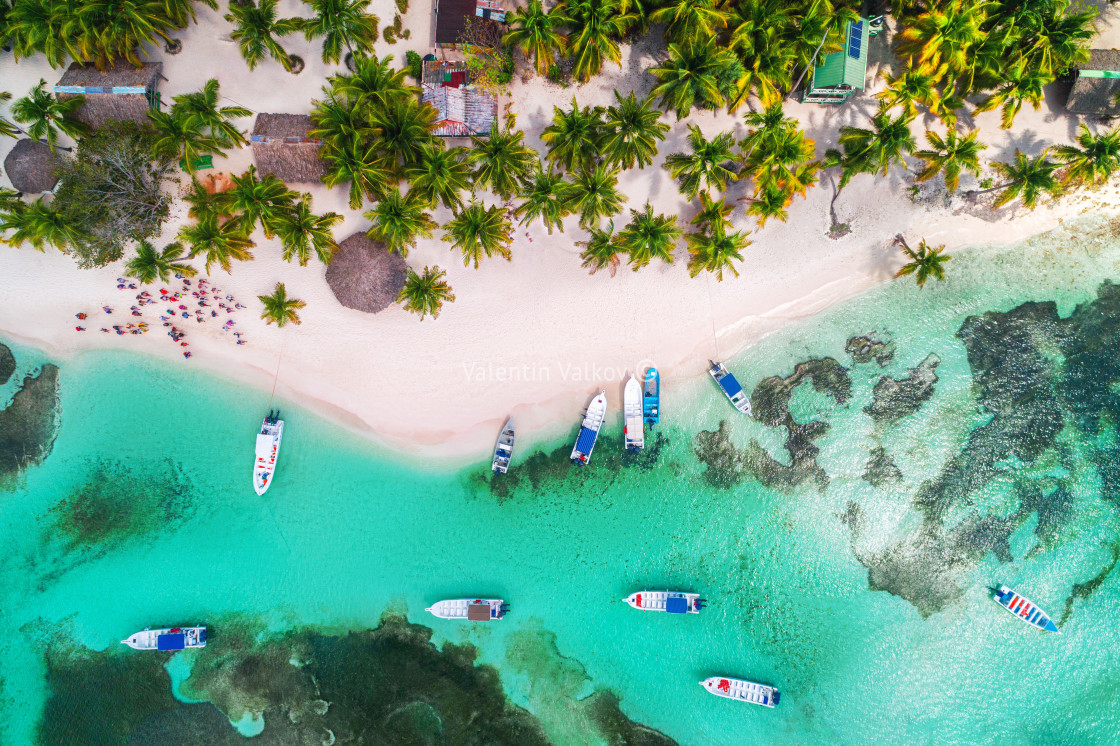 """Aerial view of tropical beach."" stock image"
