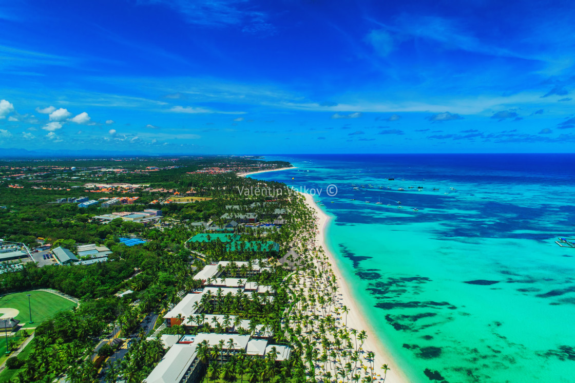 """Aerial view of Punta Cana beach resort, Dominican Republic. Exot"" stock image"