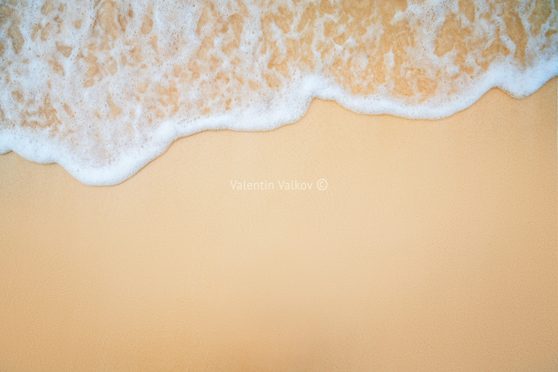 """Background of Soft Blue Ocean Wave On Sandy Beach."" stock image"