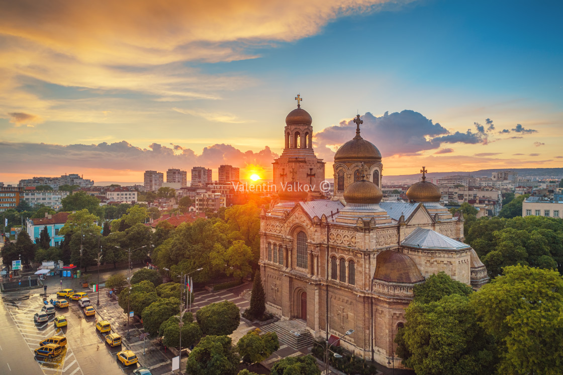 """The Cathedral of the Assumption in Varna, Aerial view"" stock image"