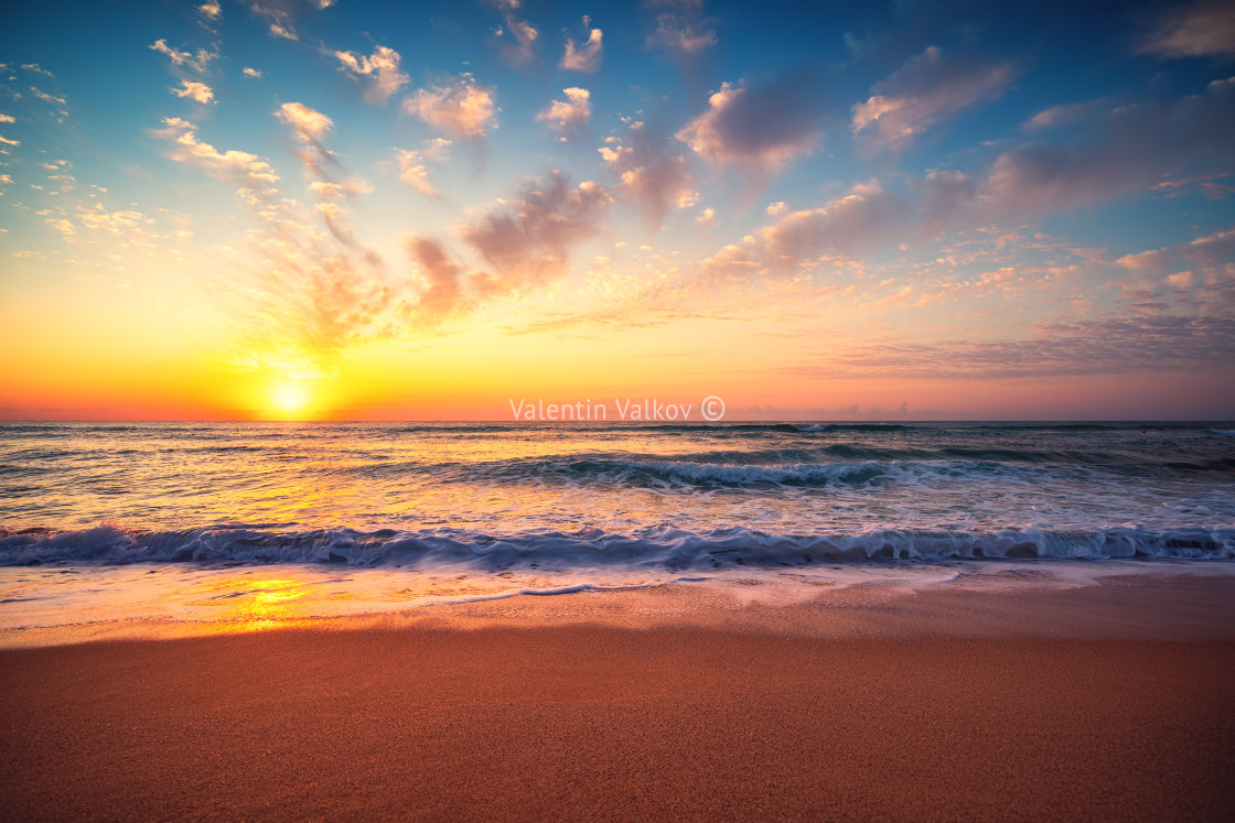"""Beautiful sunset over the tropical sea"" stock image"