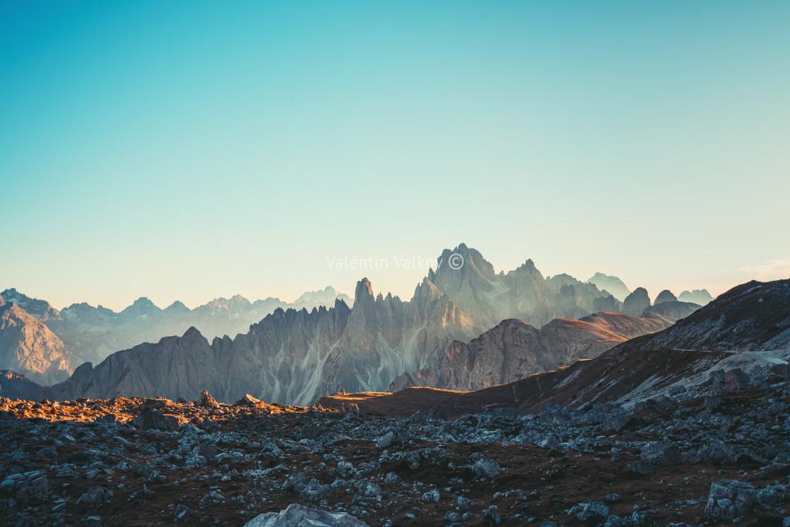 """Dolomites Alps rocky mountain range at Tre Cime Di Lavaredo"" stock image"
