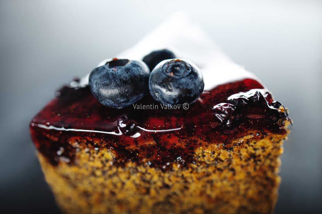 """Cake with berry fruits, chia cereals and nuts isolated"" stock image"
