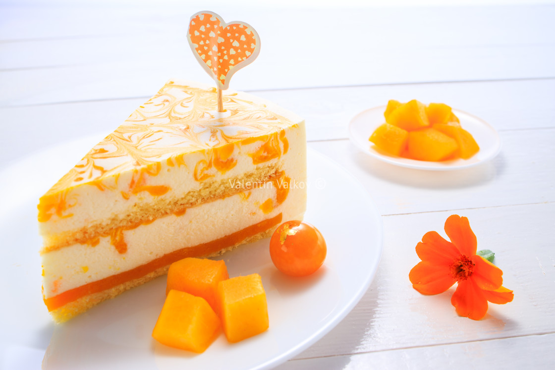 """Mousse cake with mango puree and cream"" stock image"