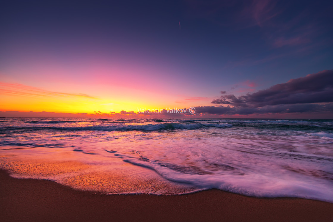 """Beautiful sunrise over the tropical sea"" stock image"