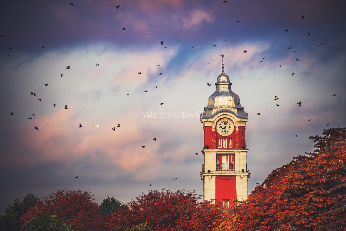 """Old tower clock of railway station of Varna city, Bulgaria and f"" stock image"