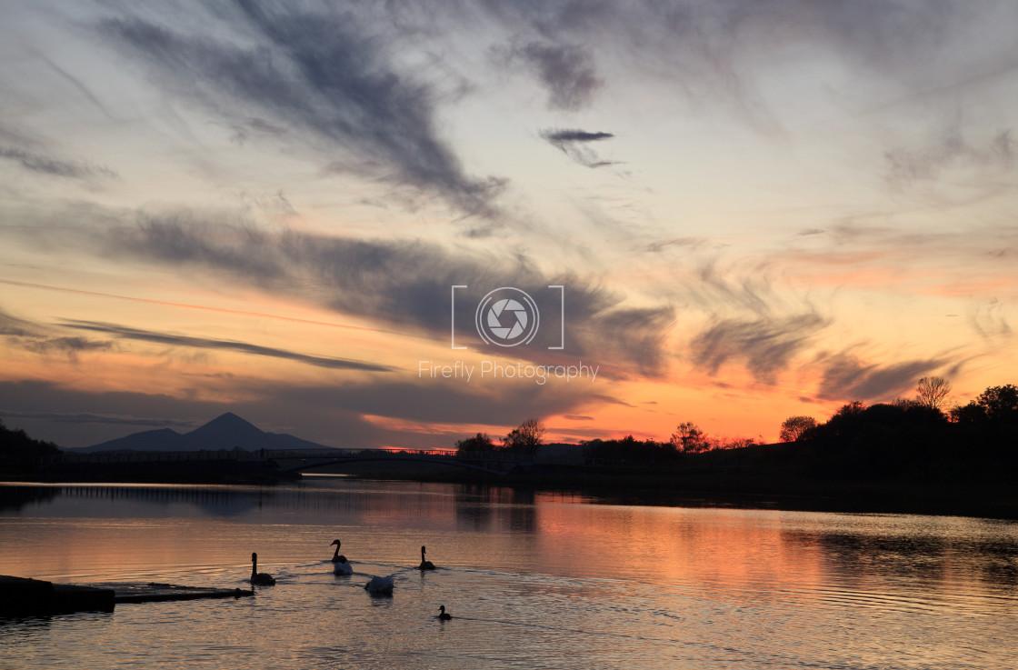"""Lough Lannagh Sunset, Castlebar, Co Mayo,"" stock image"