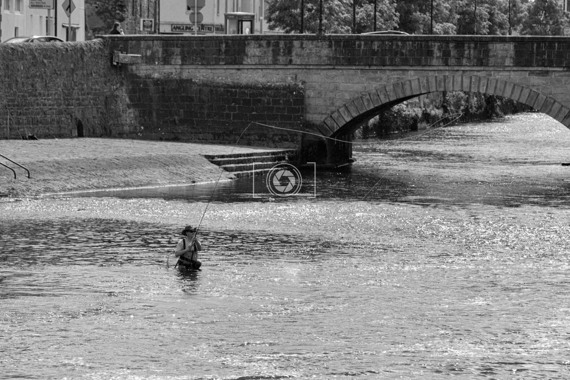 """""""Fly Fishing on the River Moy"""" stock image"""