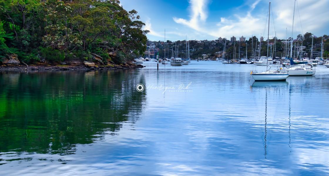 """""""Blue sky and boats at Tunks Park Marina"""" stock image"""