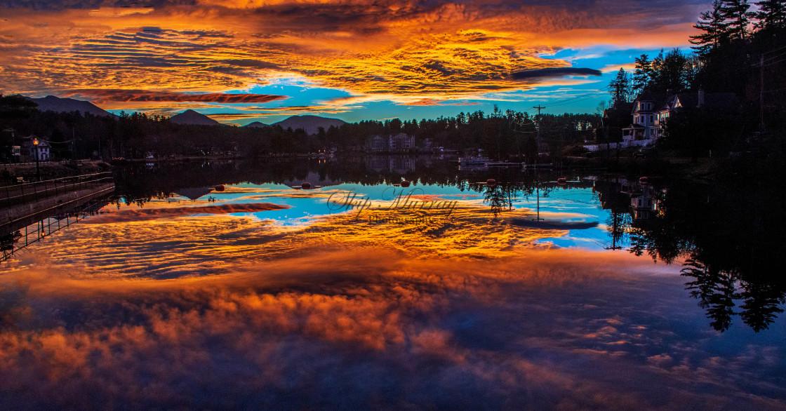 """""""Sunrise, Lake Flower"""" stock image"""