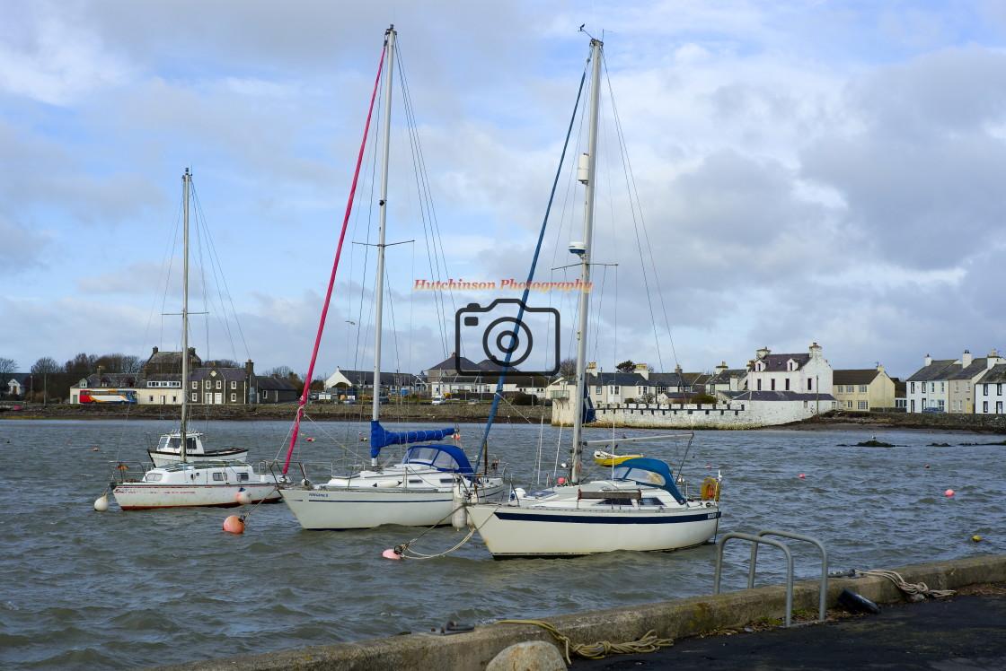 """""""Three Yachts Isle of Whithorn"""" stock image"""