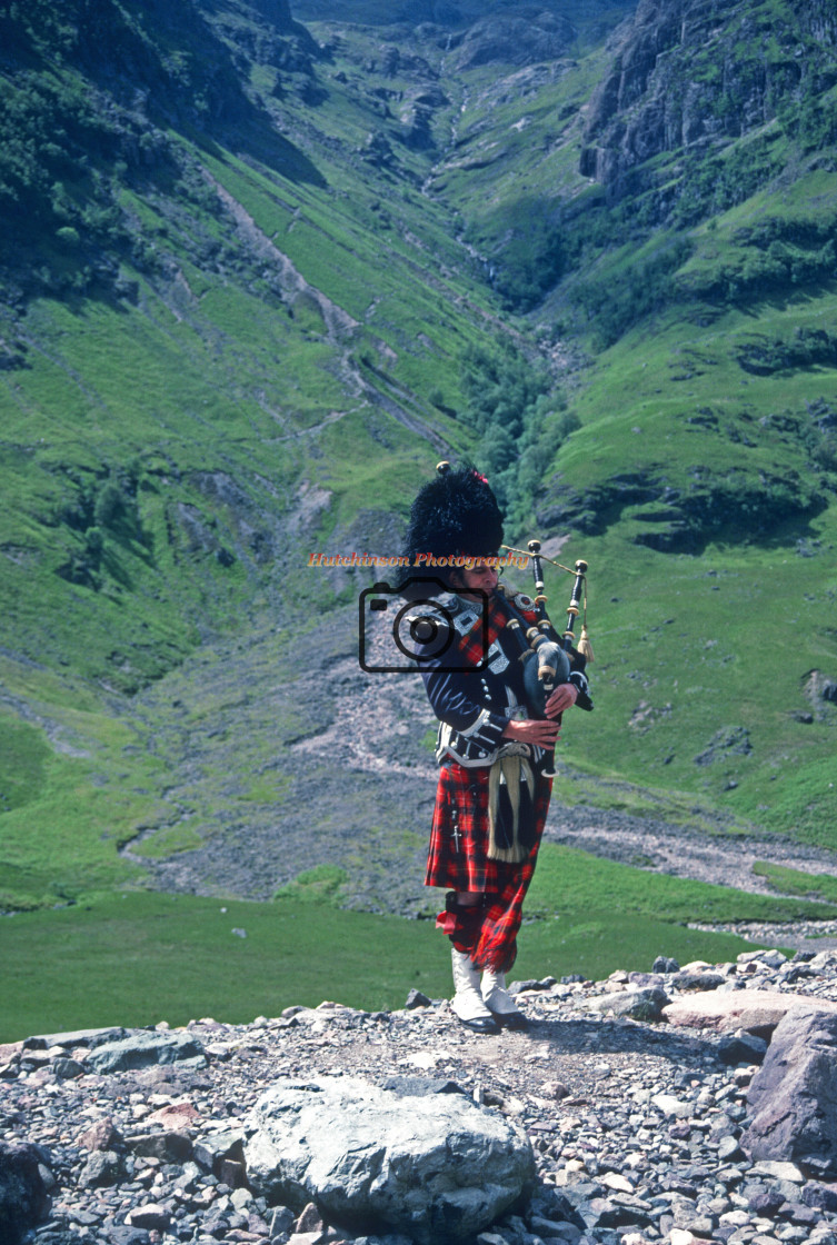 """""""Piper in Glencoe"""" stock image"""