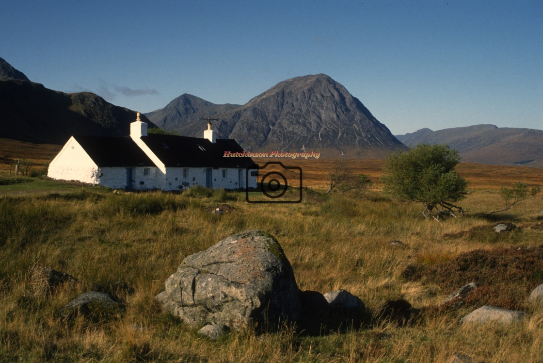 """""""Black Corries and cottages."""" stock image"""