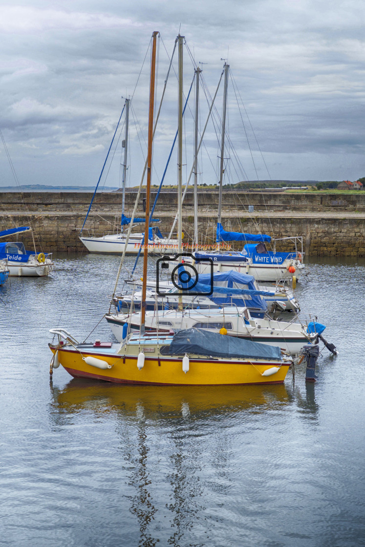 """""""Yachts in Fisherrow harbour"""" stock image"""