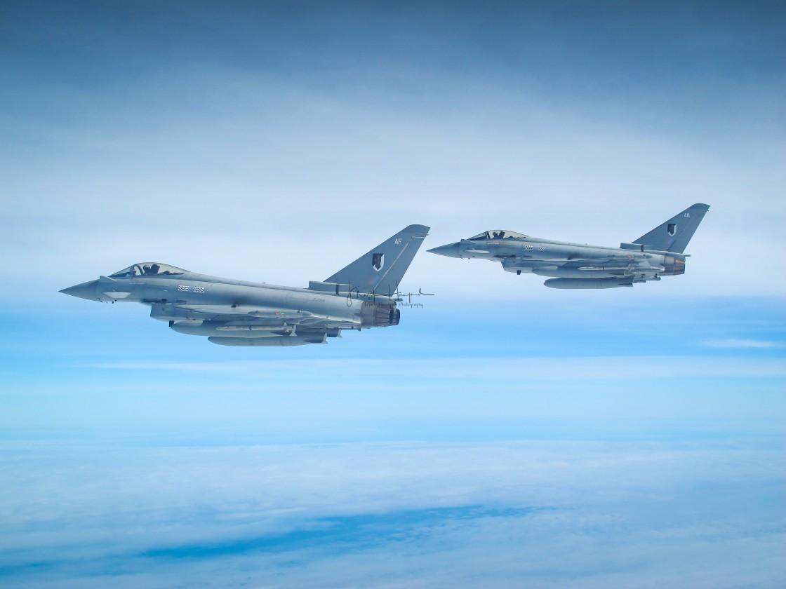 """RAF Typhoons over the Atlantic"" stock image"