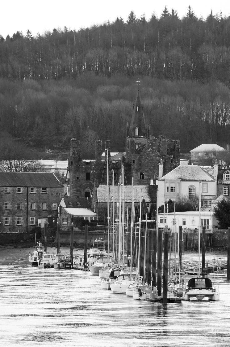 """Kirkcudbright Marina and Castle"" stock image"