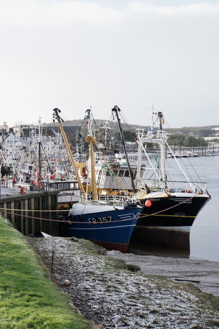 """""""Fishing boats at Kirkcudbright, Dumfries and Galloway"""" stock image"""