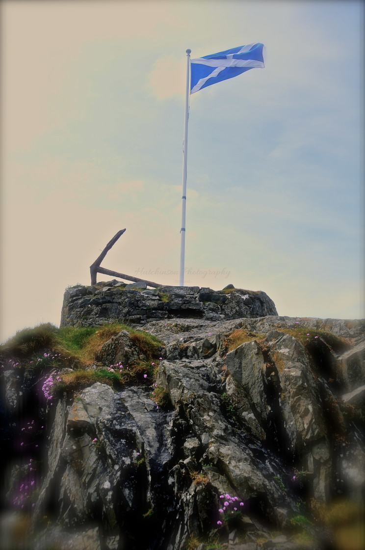 """""""St Andrews Scottish Flag at PortPatrick"""" stock image"""