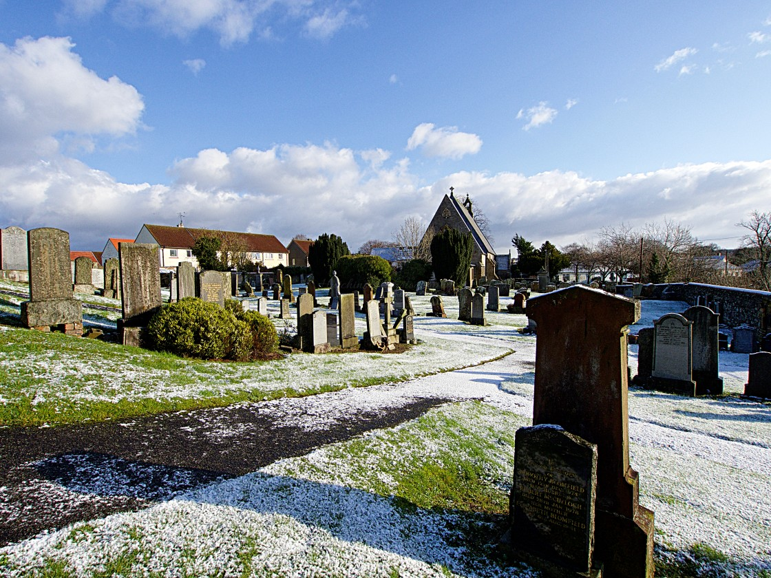"""Churchyard in winter"" stock image"