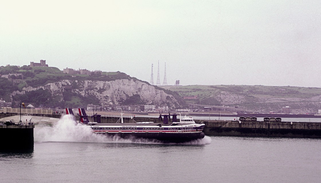 """Hovercraft leaving Dover"" stock image"