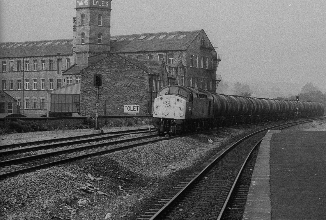 """BR class 40 passing Mirfield 1980's"" stock image"