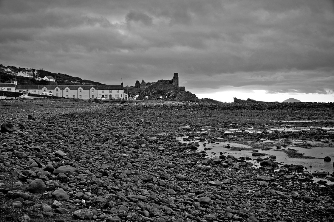 """Dunure beach and castle"" stock image"