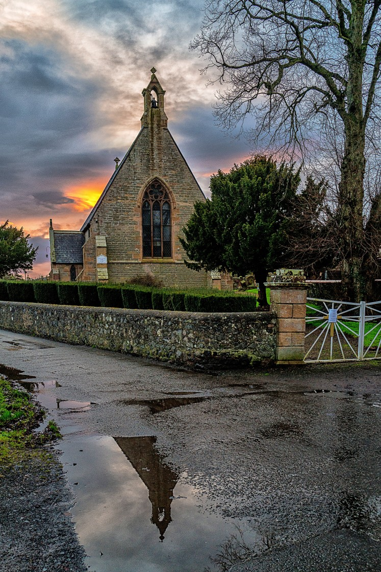 """Church at Sunset"" stock image"