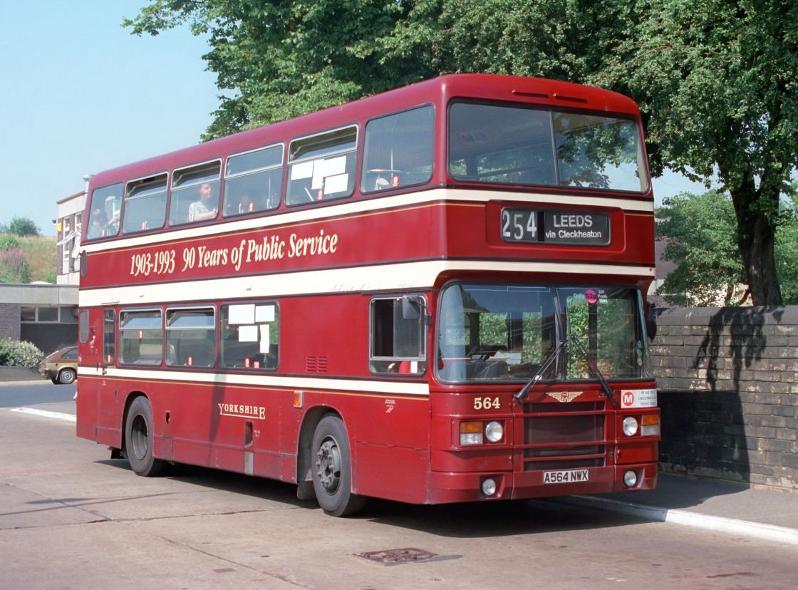 """Leyland Olympian Bus in Yorkshire livery"" stock image"