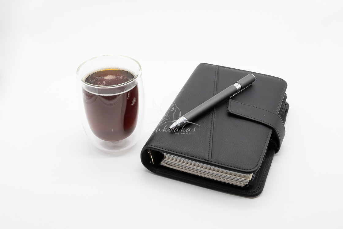 """""""filofax and coffee, isolated on white background"""" stock image"""