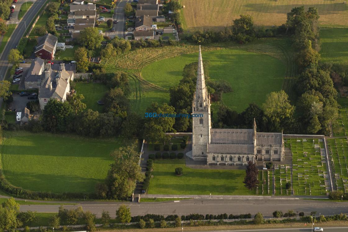 """St Margarets Church Bodelwyddan aerial photo 200919 4"" stock image"