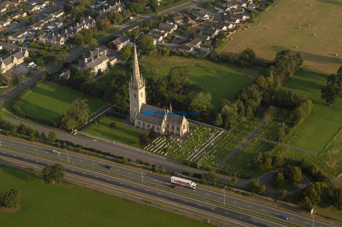 """St Margarets Church Bodelwyddan aerial photo 200919 4"" stock image"