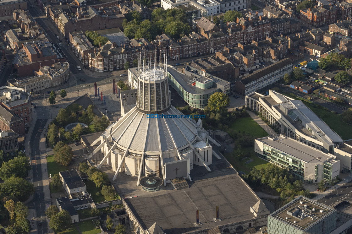 """Liverpool Catholic Cathedral aerial photo 200919 21"" stock image"