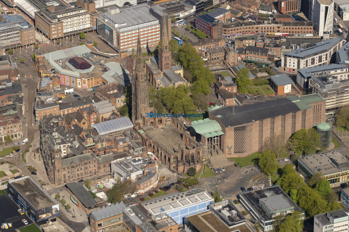 """""""Coventry Cathedral aerial photo 210507 28"""" stock image"""