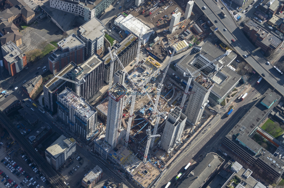 """""""Aerial photo Circle Square Manchester 25 Feb 2019"""" stock image"""
