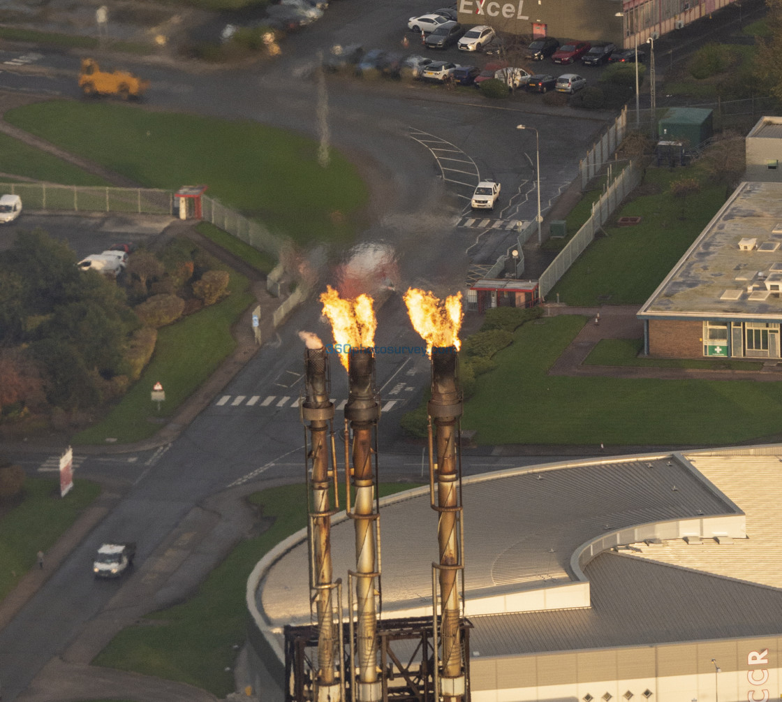 """Stanlow aerial photo flame"" stock image"