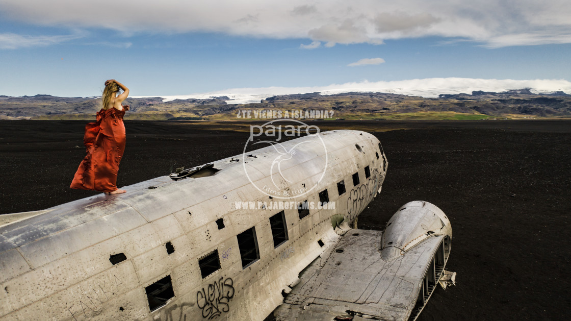 """""""Model on a crashed airplane."""" stock image"""