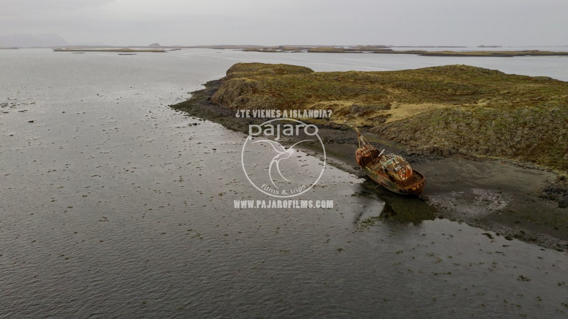 """ABANDONED SHIP IN ICELAND"" stock image"