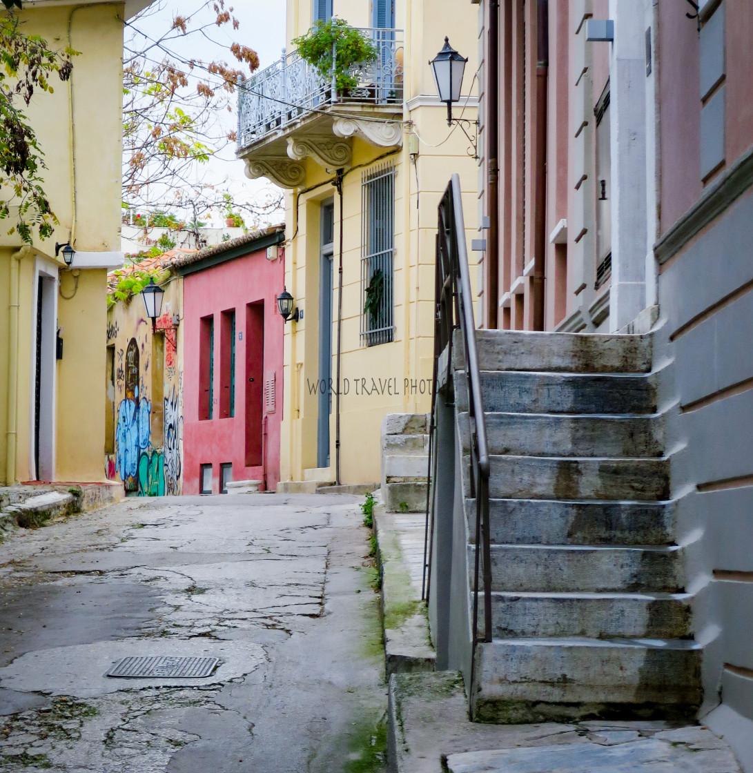 """Village Street in Athens"" stock image"