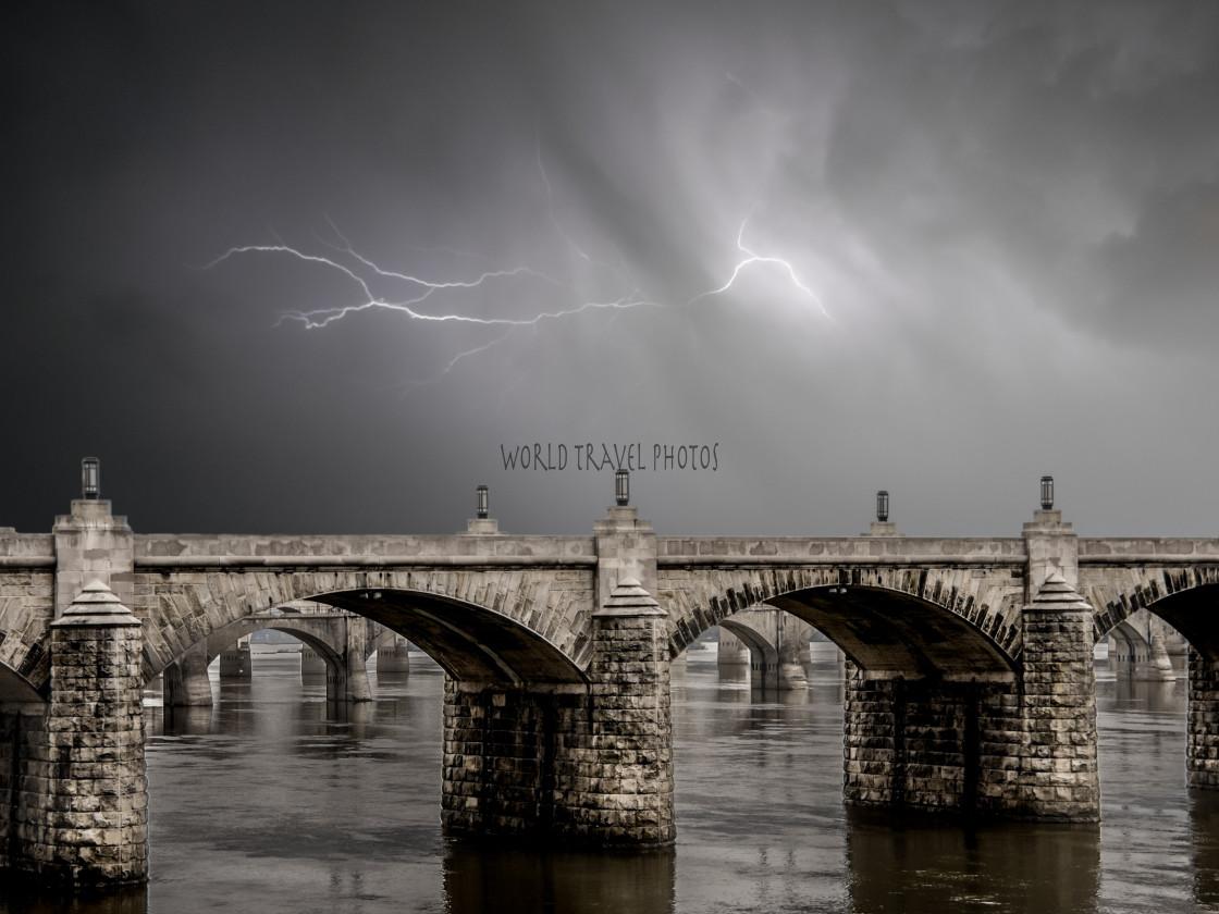 """""""Stone Bridge and Lightning Storm"""" stock image"""
