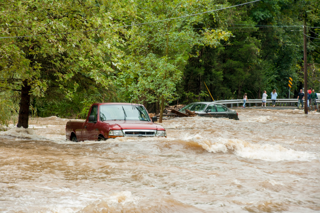 """""""Vehicles Stranded in Flood Waters"""" stock image"""