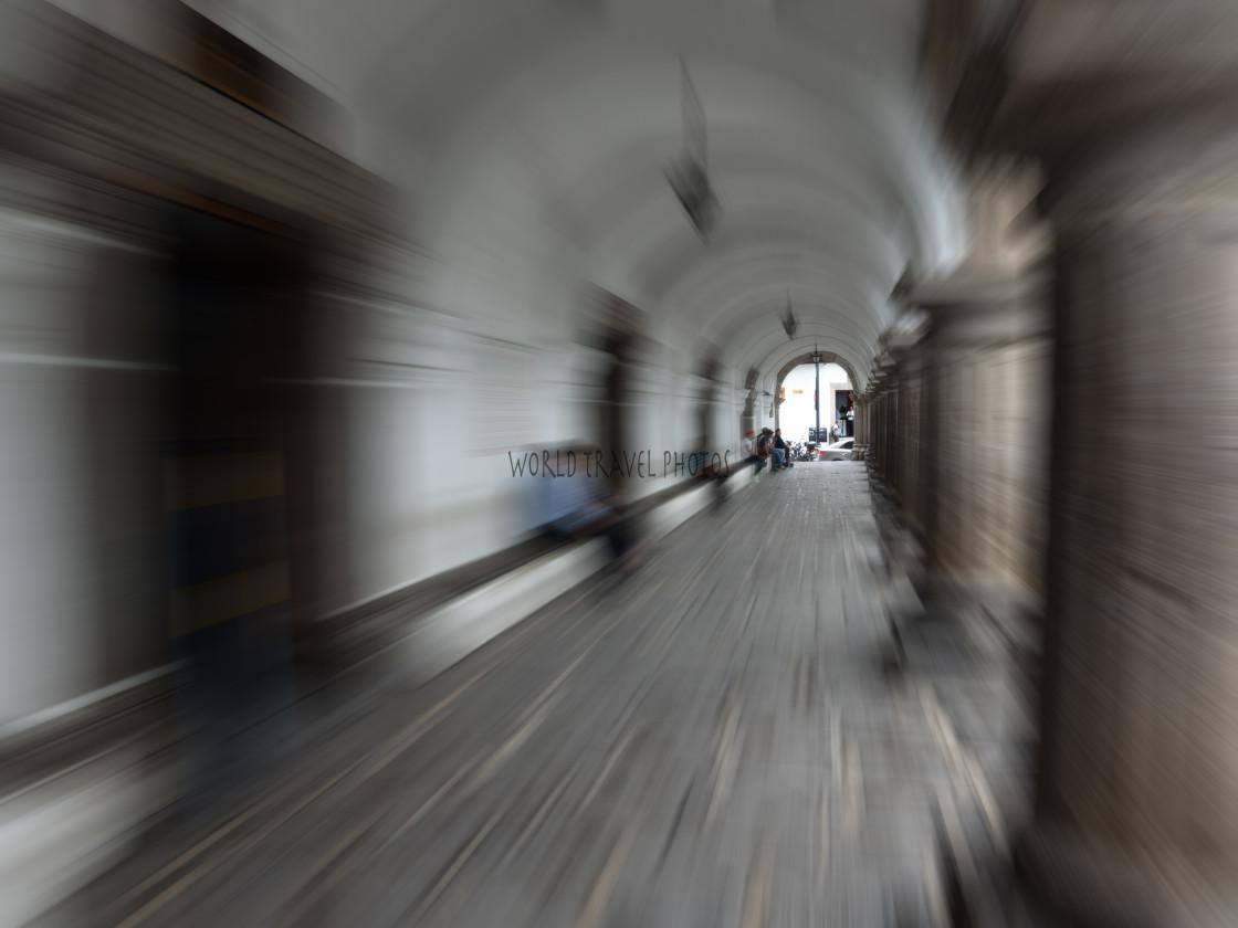 """""""Speed Blur through Walkway"""" stock image"""