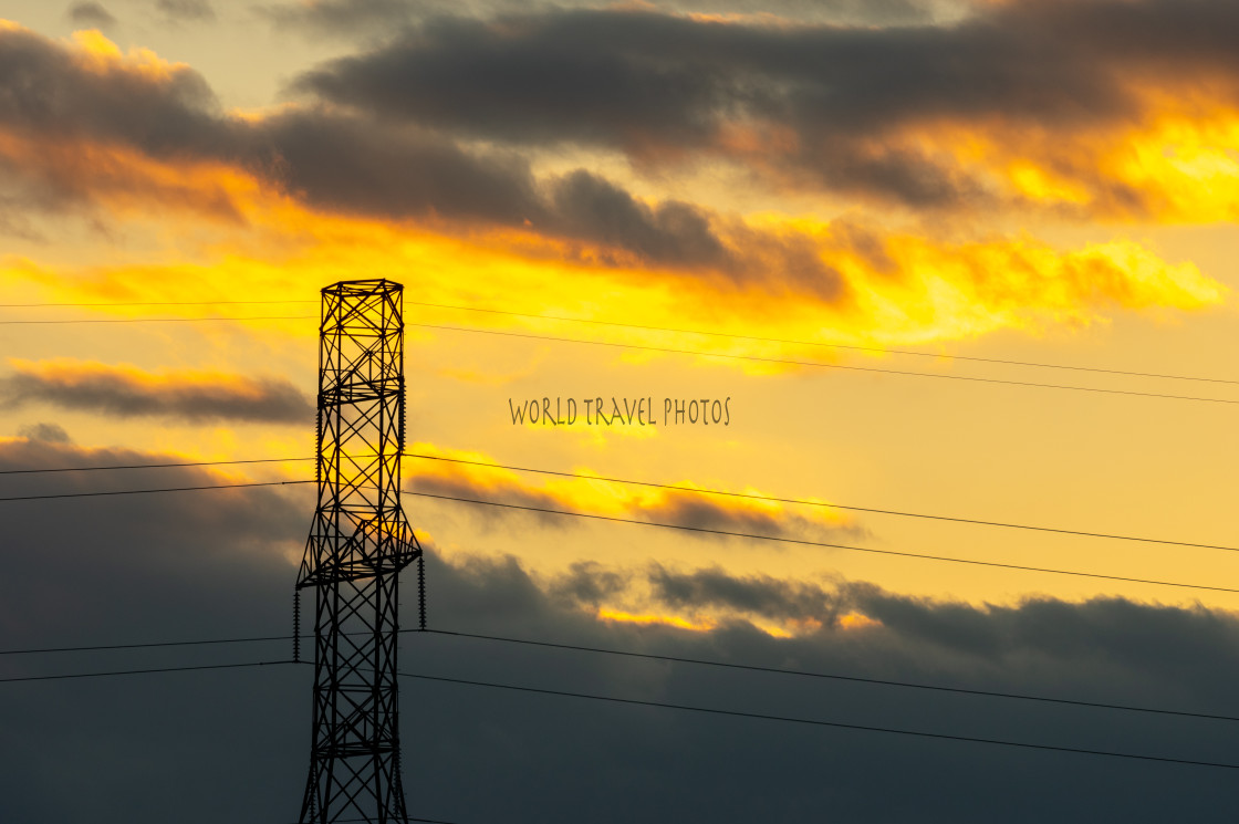"""""""Sunset over Hydro Wires"""" stock image"""